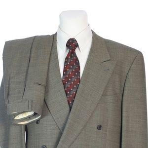 Joseph Abboud Double Breasted Brown Birdseye Suit
